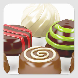 Pegatina Cuadrada Mezcla de caramelos de chocolate