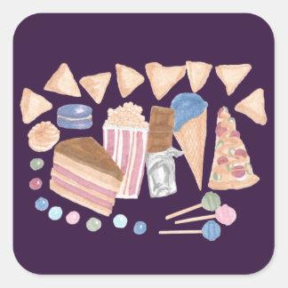 Pegatina Cuadrada Mezcla de los snacks de la película
