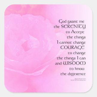 Pegatina Cuadrada Mezcla del rosa del rosa del rezo de la serenidad