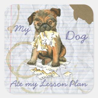 Pegatina Cuadrada Mi Bruselas Griffon comió mi plan de lección