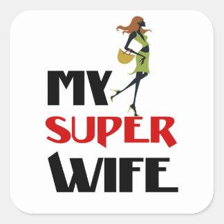 Pegatina Cuadrada mi esposa estupenda