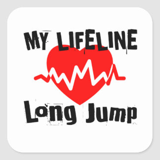 Pegatina Cuadrada Mi línea de vida salto de longitud se divierte