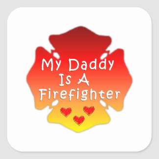 Pegatina Cuadrada Mi papá es bombero