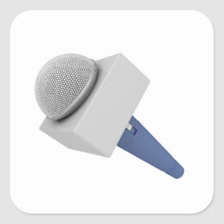 Pegatina Cuadrada Micrófono del reportero