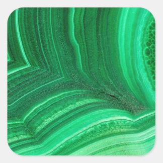 Pegatina Cuadrada Mineral verde claro de la malaquita