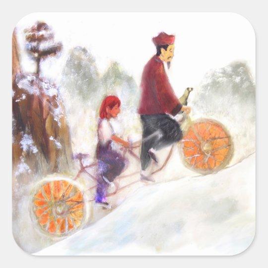 Pegatina Cuadrada MIRIAM - Liu Xiang's tandem cycle
