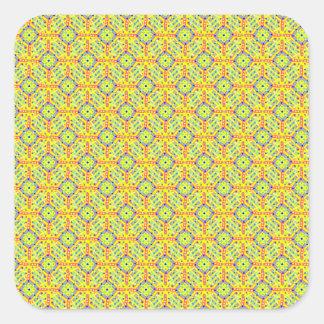 Pegatina Cuadrada Modelo amarillo del festival