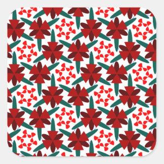 Pegatina Cuadrada Modelo de estrella rojo en los pegatinas