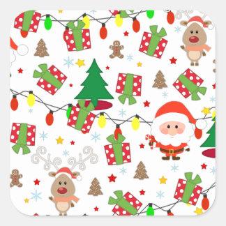 Pegatina Cuadrada Modelo de Santa y de Rudolph
