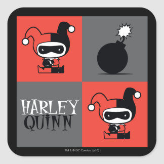 Pegatina Cuadrada Modelo del inspector de Chibi Harley Quinn
