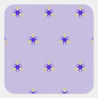 Pegatina Cuadrada Modelo delicado de la explosión de la púrpura de