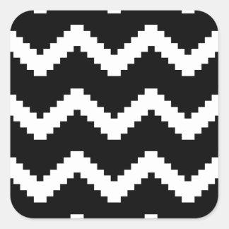 Pegatina Cuadrada Modelo geométrico del zigzag - blanco y negro.