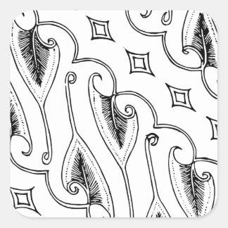 Pegatina Cuadrada Modelo indonesio de la materia textil de la hoja