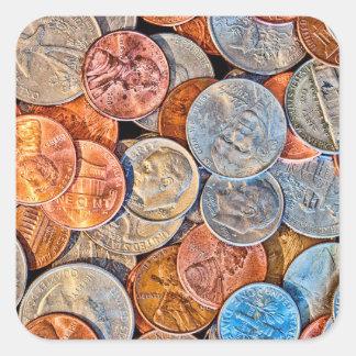 Pegatina Cuadrada Moneda acuñada