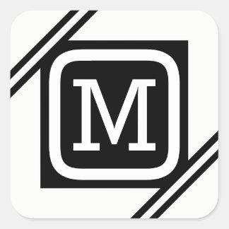 Pegatina Cuadrada Monograma alineado cuadrado básico blanco y negro