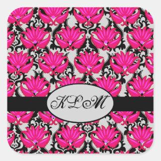 Pegatina Cuadrada Monograma parisiense gris negro rosado fucsia del