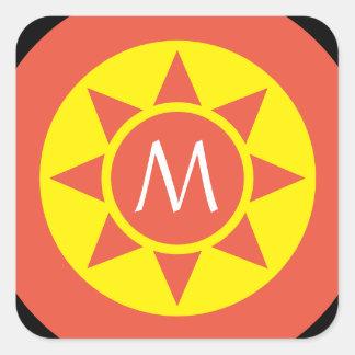 Pegatina Cuadrada Monograma rubricado brillo amarillo y anaranjado