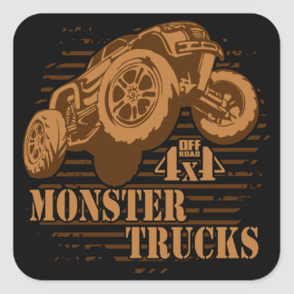 Pegatina Cuadrada Monster truck 4x4 del camino