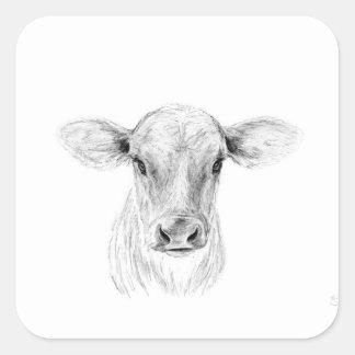 Pegatina Cuadrada MOO una vaca joven del jersey