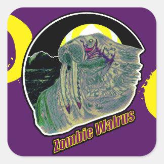 Pegatina Cuadrada Morsa del zombi amarilla/púrpura en púrpura