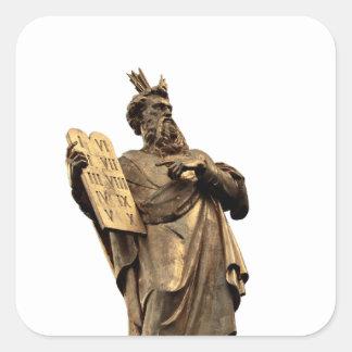 Pegatina Cuadrada Moses y diez mandamientos de oro