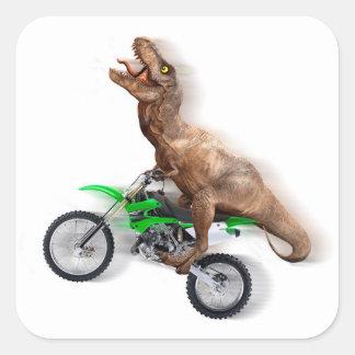 Pegatina Cuadrada Motocicleta del rex de T - paseo del rex de t -