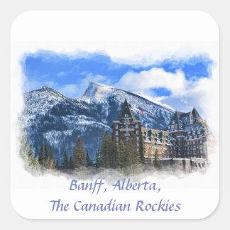 Pegatina Cuadrada Mt Rundle y hotel, Banff, Alta, Canadá
