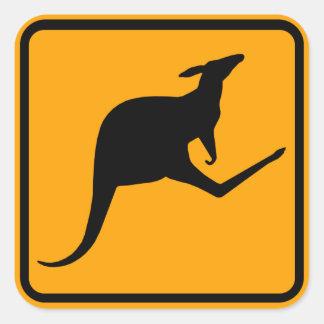 Pegatina Cuadrada Muestra de Australia del canguro (paquete de 6/20)