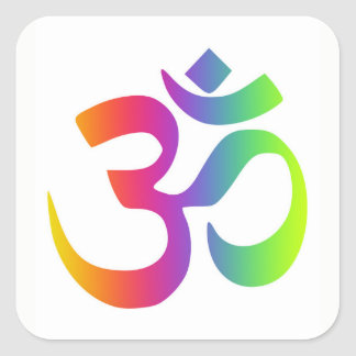 Pegatina Cuadrada Muestra de la meditación del multicolor del