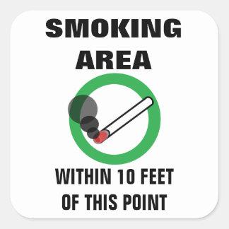 Pegatina Cuadrada Muestra de la zona de fumadores