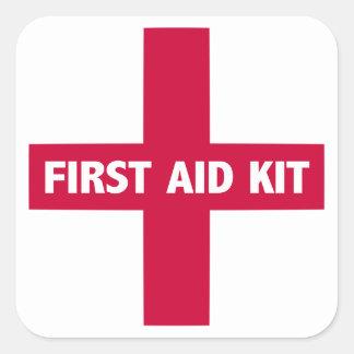 Pegatina Cuadrada Muestra del equipo de primeros auxilios