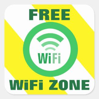 Pegatina Cuadrada Muestra libre de la zona de WiFi