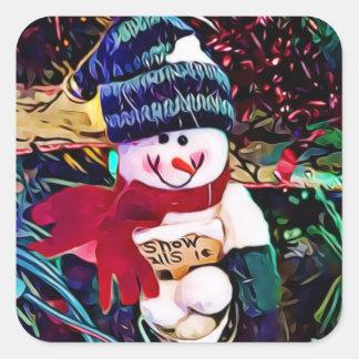 Pegatina Cuadrada Muñeco de nieve lindo con el cubo de navidad de