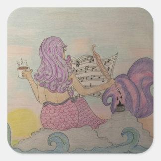 Pegatina Cuadrada Música de la sirena