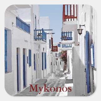 Pegatina Cuadrada Mykonos