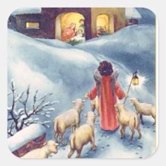 Pegatina Cuadrada Natividad del pastor del ángel del navidad del