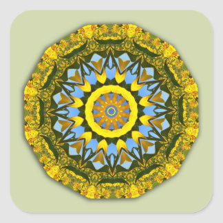 Pegatina Cuadrada Naturaleza del girasol, Flor-Mandala