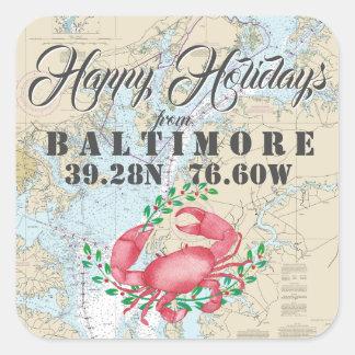 Pegatina Cuadrada Náutico buenas fiestas de Baltimore