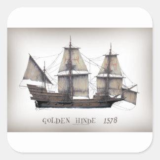 Pegatina Cuadrada Nave de oro de 1578 Hinde