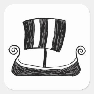 Pegatina Cuadrada Nave de Viking