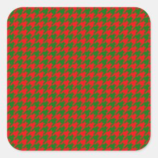 Pegatina Cuadrada Navidad clásico rojo y control verde de