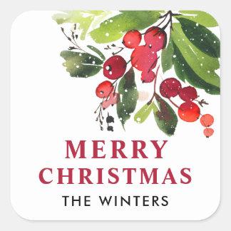 Pegatina Cuadrada Navidad de la acuarela de las Felices Navidad el |