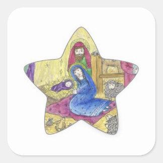 Pegatina Cuadrada Navidad de la natividad: Bebé Jesús, Maria en un