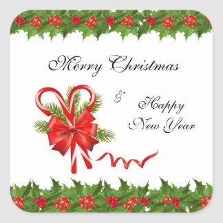 Pegatina Cuadrada Navidad de las bayas del acebo y bastones de
