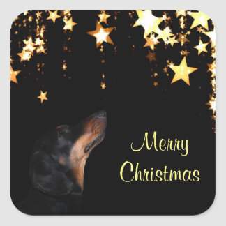 Pegatina Cuadrada Navidad del Dachshund