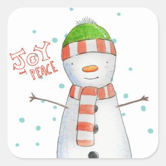 Pegatina Cuadrada Navidad lindo del muñeco de nieve de la alegría y