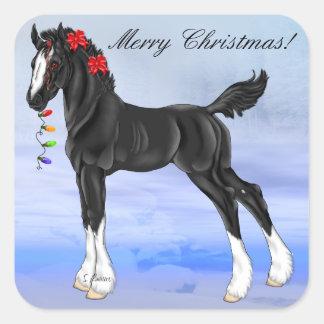Pegatina Cuadrada Navidad negro del potro del caballo de proyecto