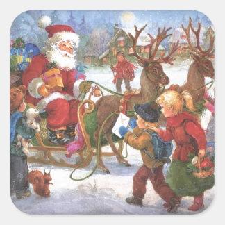 Pegatina Cuadrada Navidad Papá Noel del vintage en trineo