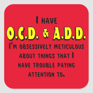 Pegatina Cuadrada Negro/amarillo de OCD-ADD