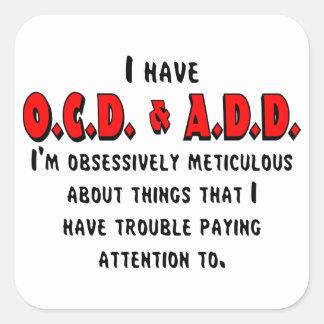 Pegatina Cuadrada Negro/rojo de OCD-ADD